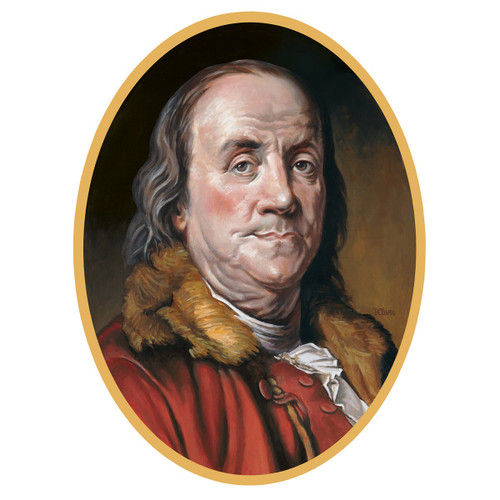 """Club Pack of 12 Red and Brown Presidential Portrait of Benjamin Franklin Double Sided Cutouts Wall Decors 24.75"""" - IMAGE 1"""