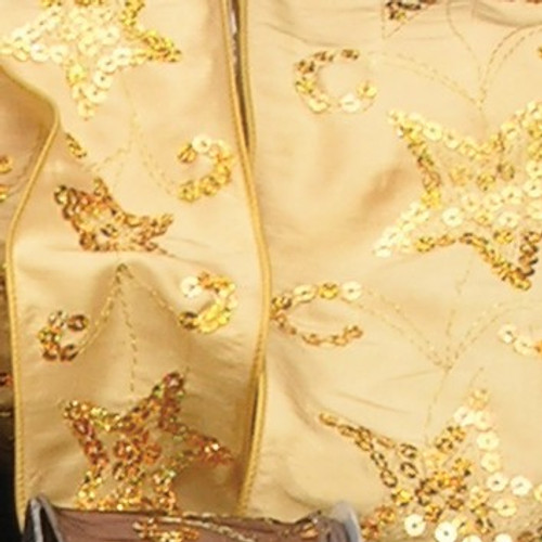 """Gold Sequined Stars Wired Craft Ribbon 2.5"""" x 20 Yards - IMAGE 1"""