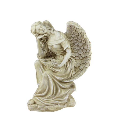 """12"""" Ivory Daydreaming Angel with Rose Outdoor Patio Garden Statue - IMAGE 1"""