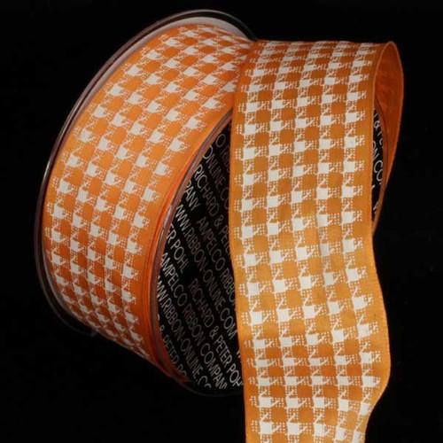 "Orange and White Wired Craft Ribbon 1.5"" x 27 Yards - IMAGE 1"