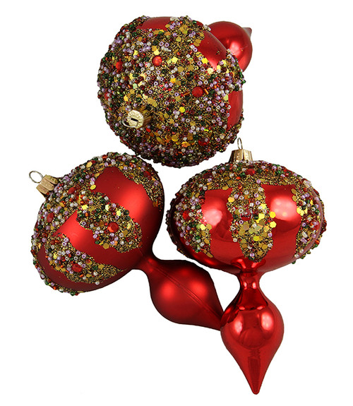 """3ct Red Shatterproof Glitter Sequin Beaded Christmas Finial Ornaments 5"""" - IMAGE 1"""