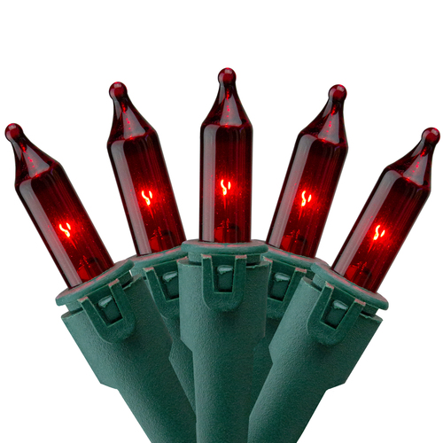 50-Count Red Mini Christmas Light Set, 22.3ft Green Wire - IMAGE 1