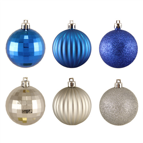 "100ct Silver and Blue Shatterproof 3-Finish Christmas Ball Ornaments 2.5"" (60mm) - IMAGE 1"