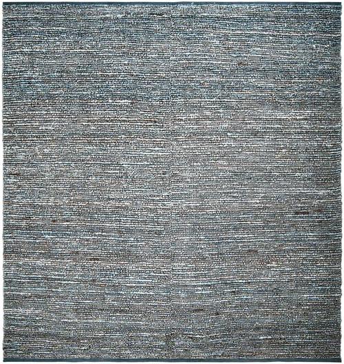8' x 8' Crestele Steel Blue and Sandy Brown Hand Woven Jute Square Area Throw Rug - IMAGE 1
