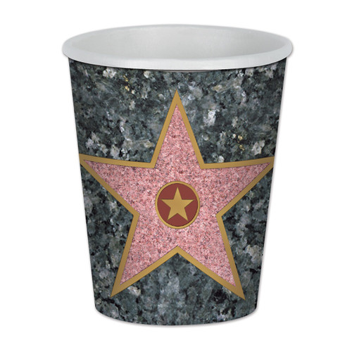 Club Pack of 96 Gray and Pink Star Disposable Paper Drinking Party Tumbler Cups 9 oz. - IMAGE 1