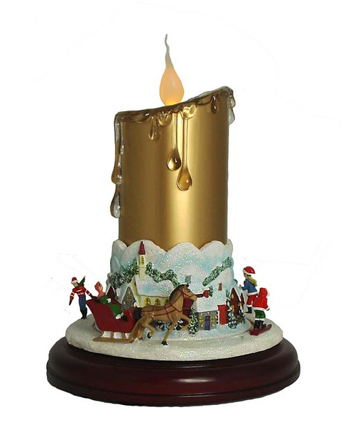 "9"" Pre-Lit Gold and Red Musical Christmas Candle with Animated Ice Skaters on Pedestal - IMAGE 1"
