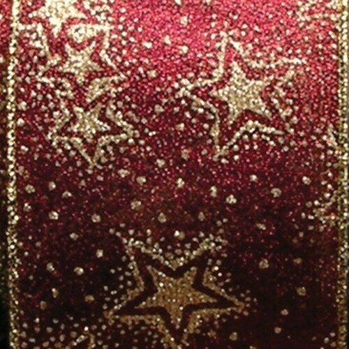 "Metallic Burgundy Red and Gold Stars Wired Craft Ribbon 6"" x 20 Yards - IMAGE 1"