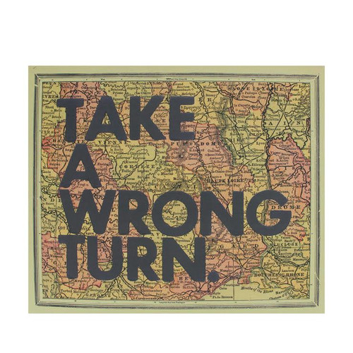 "12"" Inspirational Quote ""Take A Wrong Turn"" Colorful Framed Atlas Map Hanging Wall Art - IMAGE 1"