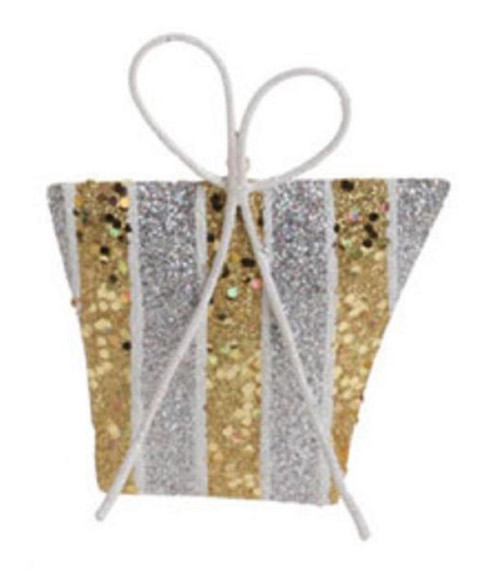 """5"""" Gold and Silver Glitter Striped Gift Christmas Ornament - IMAGE 1"""
