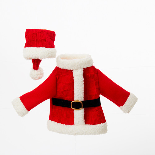 """11"""" Festive Red and White Santa's Coat and Hat Decorative Knit Wine Bottle Cover - IMAGE 1"""