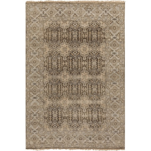 5.5' x 8.5' Stony Desert Gray and Beige Hand Knotted Rectangular New Zealand Wool Area Throw Rug - IMAGE 1