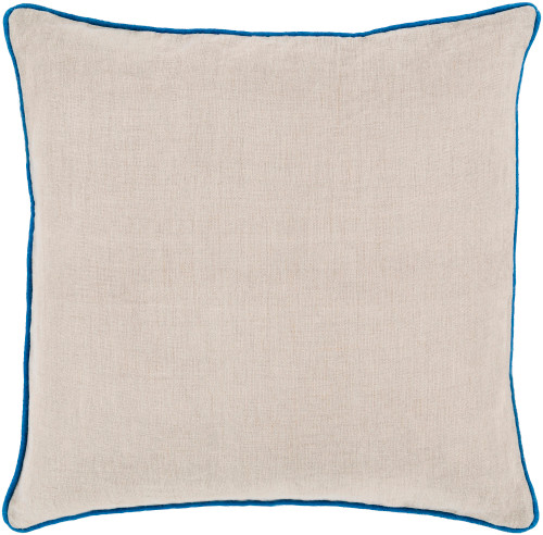 """20"""" Beige and Blue Contemporary Square Throw Pillow - IMAGE 1"""