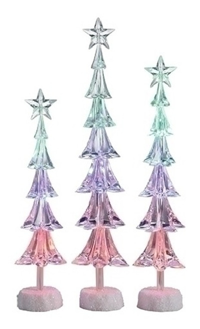 "Set of 3 Icy Crystal LED Christmas Tree with Star Christmas Tabletop Decors - 16"" - IMAGE 1"