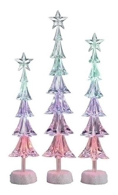"Set of 3 Icy Crystal LED Christmas Tree with Star Christmas Tabletop Decors - 16"" - IMAGE 1"