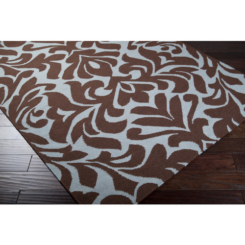 2.5' x 8' Brown and Blue Contemporary Hand Woven Rectangular Area Throw Rug Runner - IMAGE 1