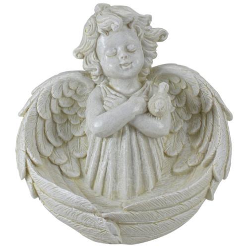 """9"""" Ivory Cherub Angel Bird Feeder Outdoor Garden Patio Statue - IMAGE 1"""