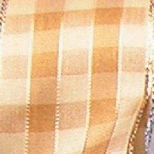 "Amber and Gold French Checkered Susi Wired Woven Polyester Decorative Ribbon 1.5"" x 27 Yards - IMAGE 1"