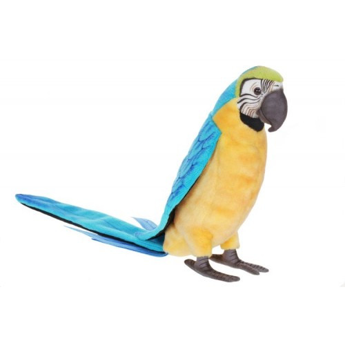"Set of 2 Blue and Yellow Handcrafted Plush Macaw Bird Stuffed Animals 28.25"" - IMAGE 1"