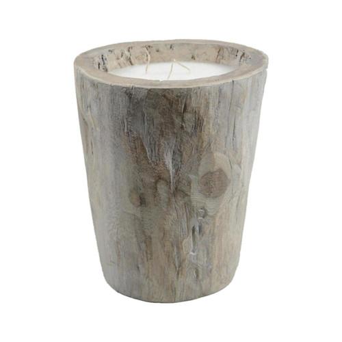 "12"" Seaside Treasures Rustic Chic Large Wooden Log Decorative Triple Wick Wax Pillar Candle - IMAGE 1"