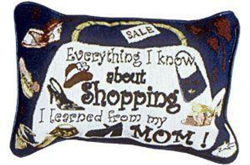 """12"""" White and Purple Shopping Themed Tapestry Throw Pillow - IMAGE 1"""