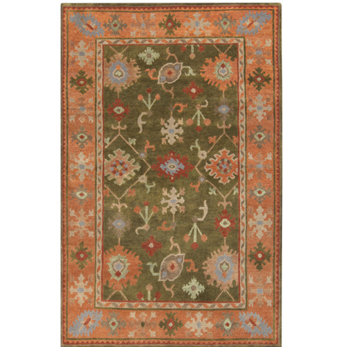 9' x 13' Burnt Orange and Olive Green Hand Knotted Rectangular Wool Area Throw Rug - IMAGE 1