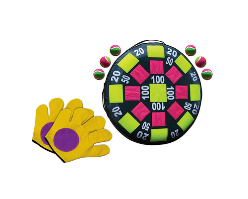 """24"""" Yellow and Pink 2-in-1 Target and Catch Swimming Pool, Lawn or Deck Combo Game - IMAGE 1"""