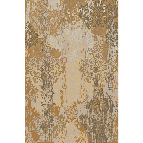 5' x 8' Abstract Damask Beige and Brown Hand Knotted New Zealand Wool Area Throw Rug - IMAGE 1