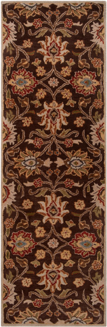 3' x 12' Floral Olive Green and Russet Brown Rectangular Wool Area Throw Rug Runner - IMAGE 1