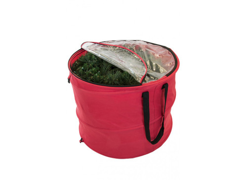 """30"""" Red and Black Extra Large Pop-Up Christmas Decors Storage Bag - IMAGE 1"""