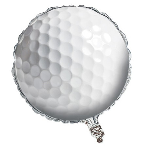 """Club Pack of 10 White Sports Fanatic Golf Ball Shaped Metallic Party Balloons 18"""" - IMAGE 1"""
