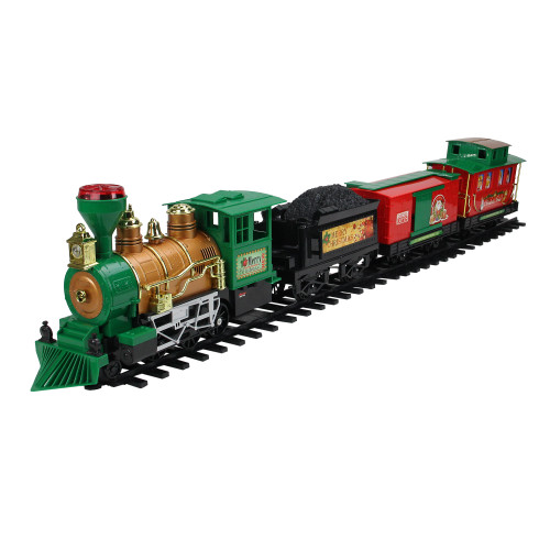 20-Piece Battery Operated Lighted & Animated Christmas Express Train Set with Sound - IMAGE 1