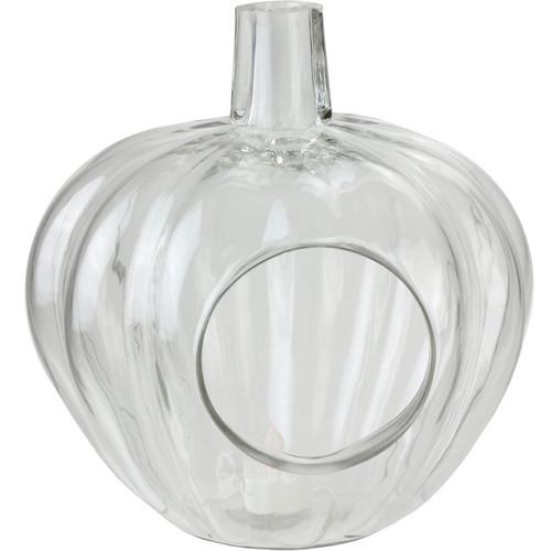 "10.5"" Transparent Glass Pumpkin Shaped Decorative Pillar Candle Holder - IMAGE 1"