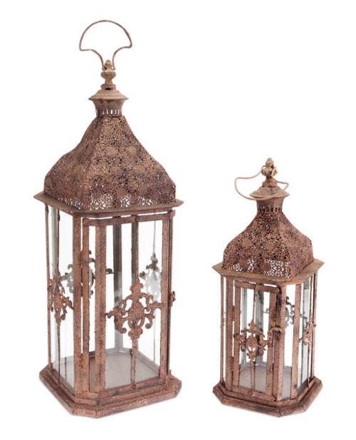 "Set of 2 Brick Brown Antique Rustic Pillar Candle Holder Lanterns 24"" - IMAGE 1"