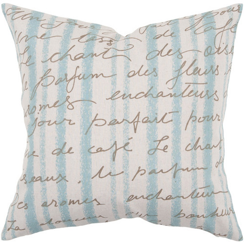 """22"""" Sea Blue and Ivory Contemporary Square Striped Throw Pillow - Down Filler - IMAGE 1"""