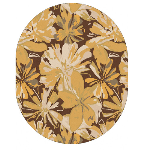 8' x 10' White and Brown Contemporary Hand Tufted Floral Oval Wool Area Throw Rug - IMAGE 1