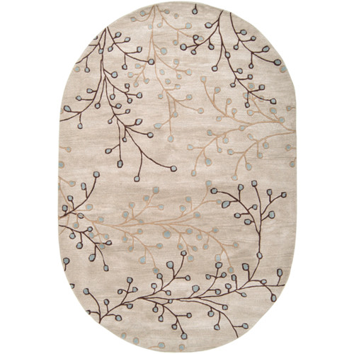 6' x 9' Brown and Gray Hand-Tufted Oval Wool Area Throw Rug - IMAGE 1