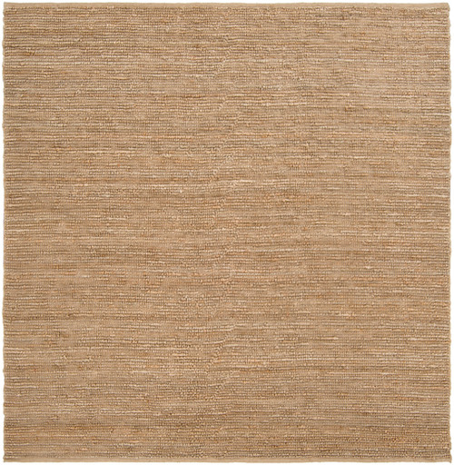 8' x 8' Solid Tawny Brown Hand Woven Square Area Throw Rug - IMAGE 1