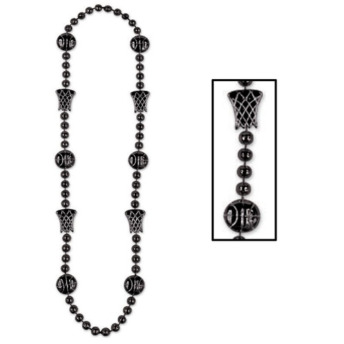 """Club Pack of 12 Black Basketball Beaded Necklaces 36"""" - IMAGE 1"""