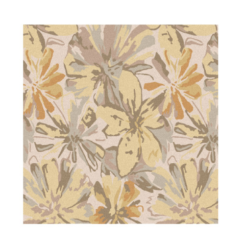6' x 6' Gray and Brown Floral Square Area Throw Rug - IMAGE 1
