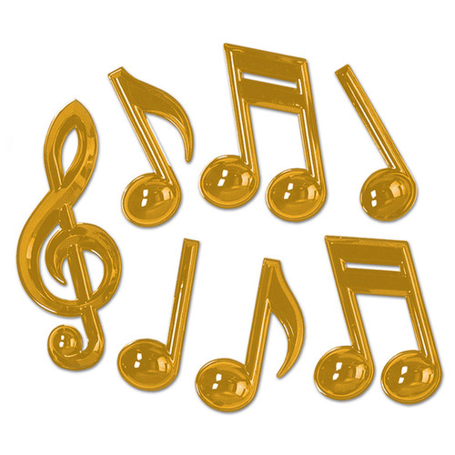 """Club Pack of 12 Shiny Gold Musical Notes Party Decors 13"""" - IMAGE 1"""