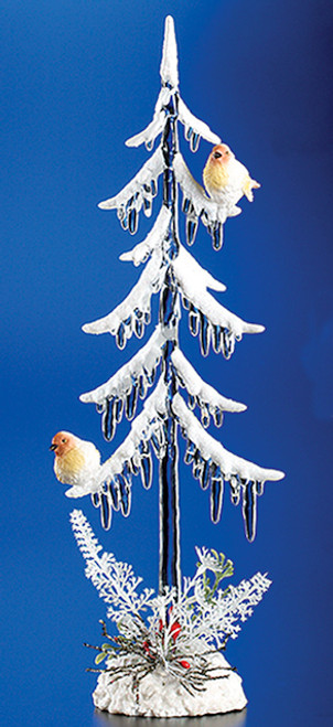 """Pack of 4 Clear Icy Crystal Illuminated Christmas Icicle Tree with Birds Figurines 11.5"""" - IMAGE 1"""