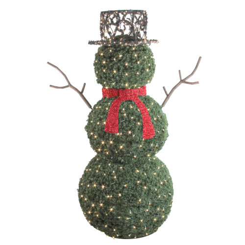 6.5' Giant Commercial Grade LED Lighted Snowman Topiary Outdoor Christmas Decoration - IMAGE 1