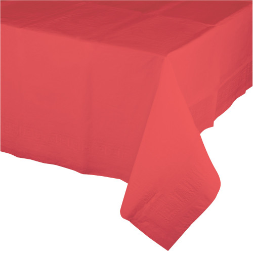 Club Pack of 12 Coral Red Disposable Banquet Party Table Covers 9' - IMAGE 1