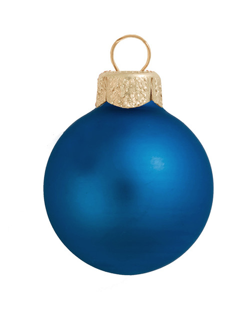 """28ct Cobalt Blue and Gold Matte Finish Glass Christmas Ball Ornaments 2"""" (50mm) - IMAGE 1"""