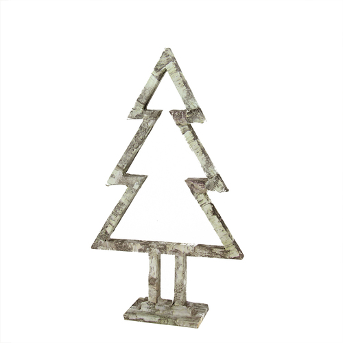 """17"""" Ivory and Gray Cabin Birch Tree Silhouette Christmas Tabletop Decor - IMAGE 1"""