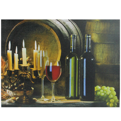 """15.75"""" LED Lighted Flickering Candles and Wine Canvas Wall Art Decor - IMAGE 1"""