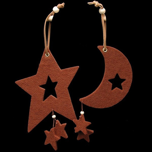 Club Pack of 18 Chocolate Brown Large Moon & Star Felt Ornaments - IMAGE 1