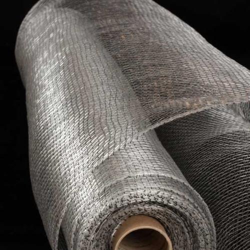 "Silver and Black Decorating Mesh Craft Ribbon 21"" x 40 Yards - IMAGE 1"