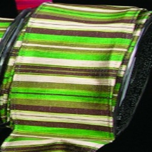 """Olive Green and Cream White Striped Craft Ribbon 0.375"""" x 108 Yards - IMAGE 1"""