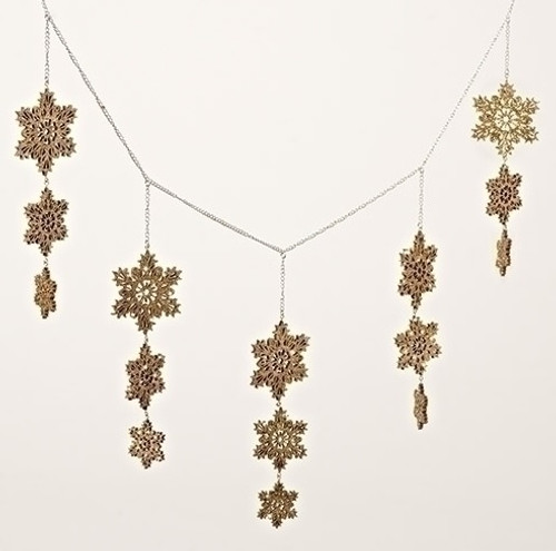 """3' x 8"""" Gold Glittered Snowflake Swag Artificial Christmas Garland - Unlit - IMAGE 1"""